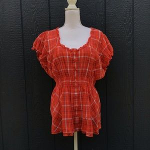 Torrid Red Plaid Short Sleeve Cinched Waist Size 3